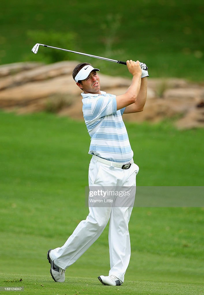 Pablo Martin of Spain plays his second shot into the ninth green during the first round of the Alfred Dunhill Championships at Leopard Creek Golf Club on November 17, 2011 in Malelane, South Africa.