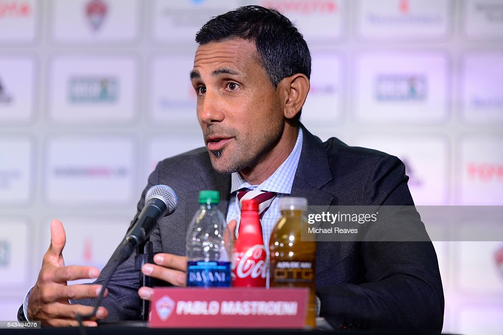 <a gi-track='captionPersonalityLinkClicked' href=/galleries/search?phrase=Pablo+Mastroeni&family=editorial&specificpeople=240329 ng-click='$event.stopPropagation()'>Pablo Mastroeni</a> addresses the media about Tim Howard as he is introduced as a member of the Colorado Rapids during a press conference at Dick's Sporting Goods Park on June 28, 2016.