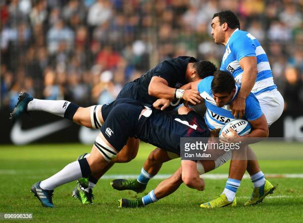 Pablo Matera of Argentina is tackled by Sam Underhill of England during the International Test match between Argentina and England at Estadio CA...