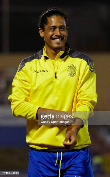 Pablo Mauricio Lemos of Las Palmas reacts during the Pre Season Friendly match between Las Palmas and Tenerife at Municipal de Maspalomas Stadium on...