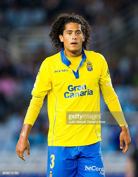 Pablo Mauricio Lemos of UD Las Palmas reacts during the La Liga match between Real Sociedad de Futbol and UD Las Palmas at Estadio Anoeta on...