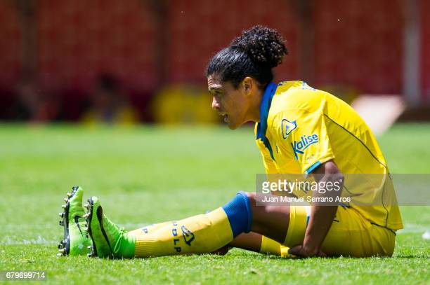 Pablo Mauricio Lemos of UD Las Palmas reacts during the La Liga match between Real Sporting de Gijon and UD Las Palmas at Estadio El Molinon on May 6...