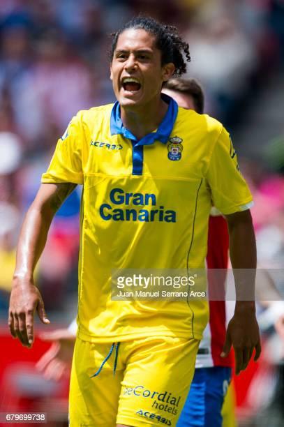 Pablo Mauricio Lemos of UD Las Palmas reacts during the La Liga match between Real Sporting de Gijon and UD Las Palmas at Estadio El Molinon on May 6...