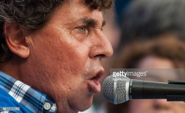 Pablo Micheli leader of the Confederation of Argentine Workers labor union speaks during a demonstration in Buenos Aires Argentina on March 30 2017