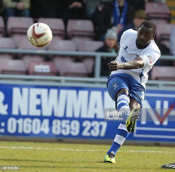 Pablo Mills of Bury in action during the Sky Bet League Two match between Northampton Town and Bury at Sixfields Stadium on March 29 2014 in...