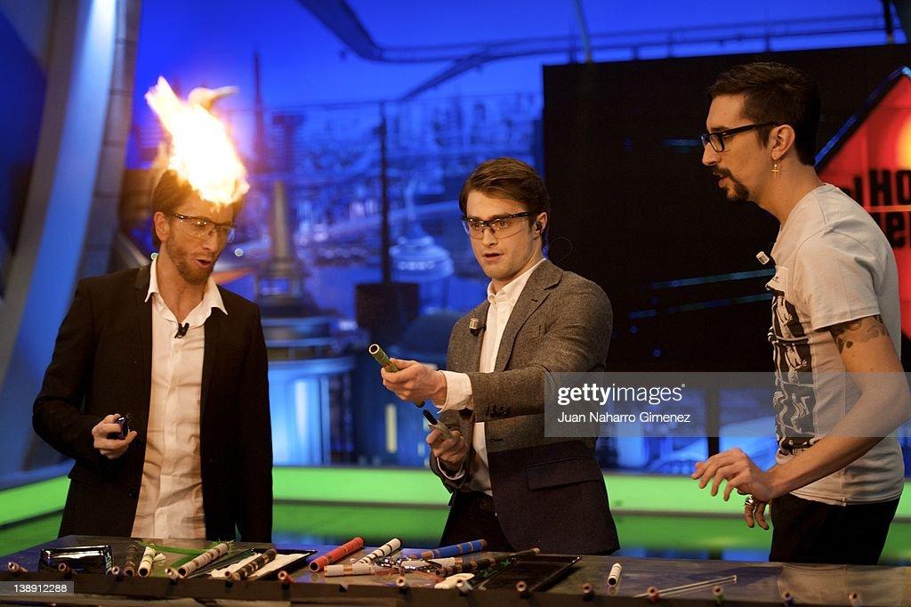 Pablo Motos and actor Daniel Radcliffe attends 'El Hormiguero' TV Show at Vertice 360 Studio on February 13 2012 in Madrid Spain