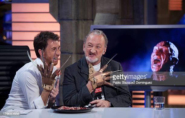 Pablo Motos and actor Robert Englund attend 'El Hormiguero' Tv Show at Vertice Studios on October 19 2011 in Madrid Spain