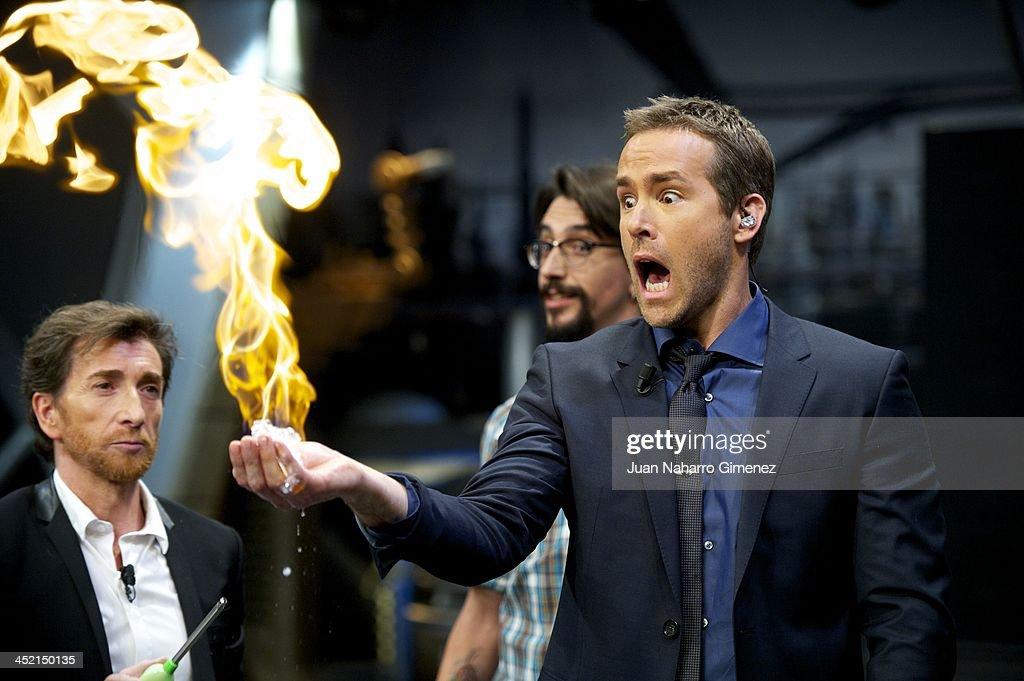 Pablo Motos and actor Ryan Reynolds attend 'El Hormiguero' Tv show at Vertice Studio on November 26 2013 in Madrid Spain