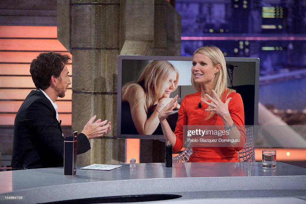 Pablo Motos and actress Gwyneth Paltrow attends 'El Hormiguero' Tv Show at Vertice Studios on October 29, 2012 in Madrid, Spain.