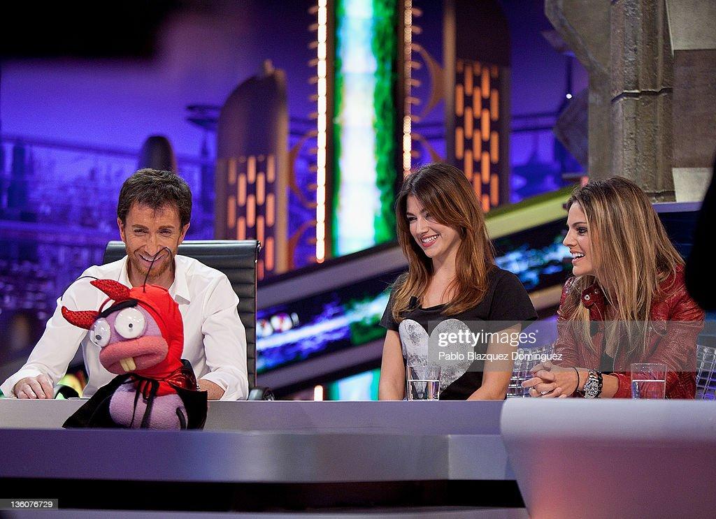 Pablo Motos and actresses Ursula Corbero and Amaia Salamanca attend 'El Hormiguero' Tv Show at Vertice Studios on December 22 2011 in Madrid Spain