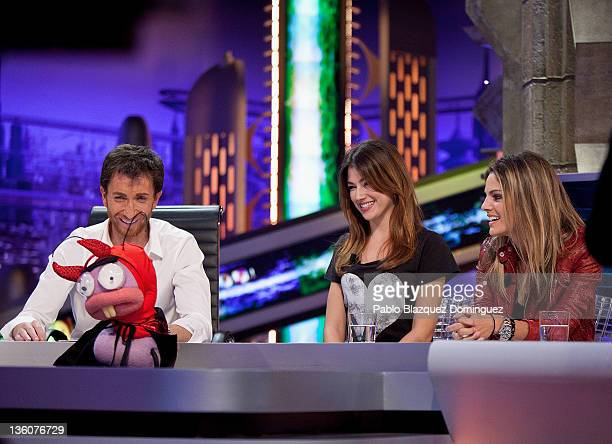 Pablo Motos and actresses Ursula Corbero and Amaia Salamanca attend 'El Hormiguero' Tv Show at Vertice Studios on December 22 2011 in Madrid Spain