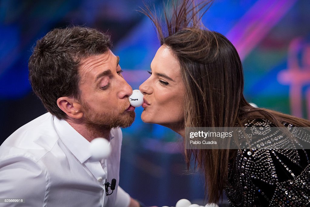 Pablo Motos and Alessandra Ambrosio attend 'El Hormiguero' TV Show at Vertice Studio on April 28, 2016 in Madrid.