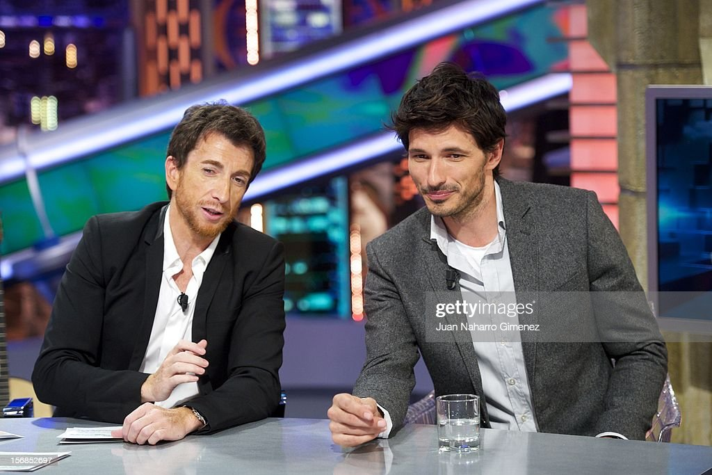 <a gi-track='captionPersonalityLinkClicked' href=/galleries/search?phrase=Pablo+Motos&family=editorial&specificpeople=6560001 ng-click='$event.stopPropagation()'>Pablo Motos</a> and Andres Velencoso attends 'El Hormiguero' Tv show at Vertice Studio on November 22, 2012 in Madrid, Spain.
