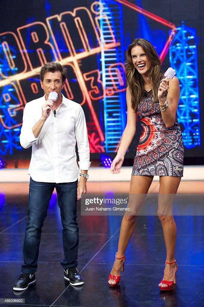 Pablo Motos and Brazilian top model Alessandra Ambrosio attend 'El Hormiguero' TV show at Vertice Studio on September 10 2014 in Madrid Spain