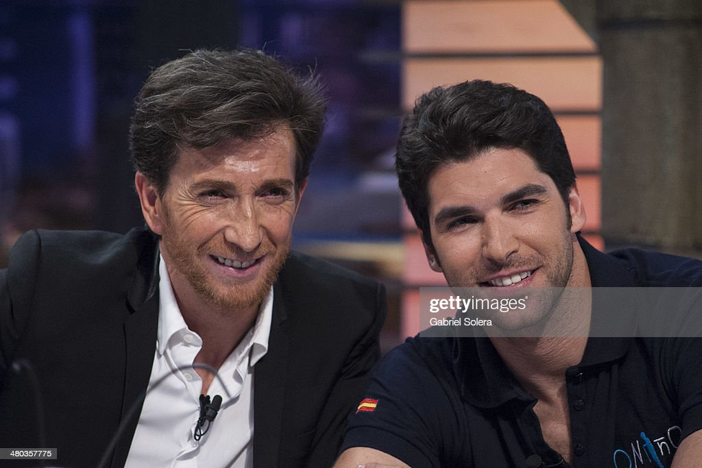 Pablo Motos and Cayetano Rivera attend 'El Hormiguero' Tv Show on March 24 2014 in Madrid Spain