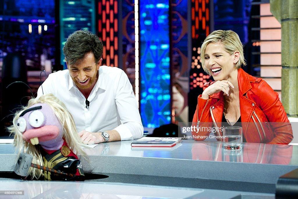 Pablo Motos (L) and Elsa Pataky attend 'El Hormiguero' Tv show at Vertice Studio on June 11, 2014 in Madrid, Spain.