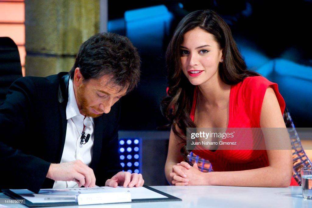 Pablo Motos and Genesis Rodriguez attend 'El Hormiguero' TV show at Vertice 360 Studio on March 21 2012 in Madrid Spain
