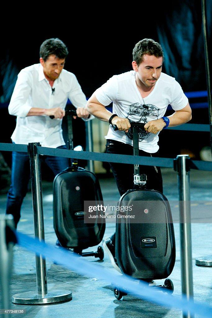 Pablo Motos and Jorge Lorenzo attend 'El Hormiguero' Tv show at Vertice Studio on June 16 2015 in Madrid Spain