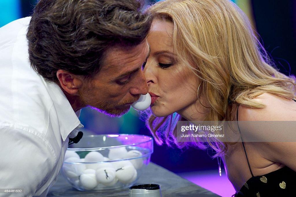 Pablo Motos and Kylie Minogue attend 'El Hormiguero' TV show at Vertice Studio on September 1 2014 in Madrid Spain