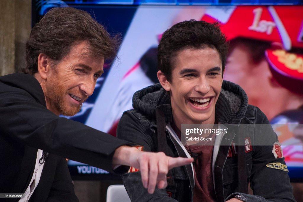 Pablo Motos and Marc Marquez attend 'El Hormiguero' Tv Show at Vertice Studio on December 10 2013 in Madrid Spain
