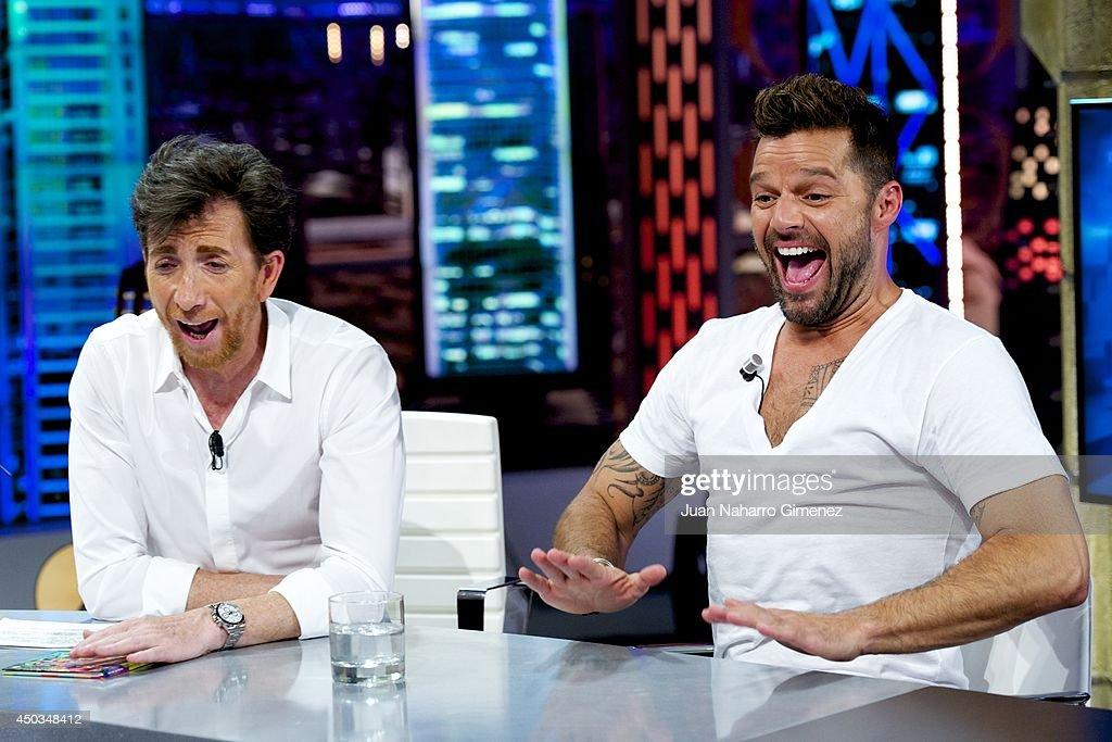 Pablo Motos and Ricky Martin attend 'El Hormiguero' Tv show at Vertice Studio on June 9 2014 in Madrid Spain
