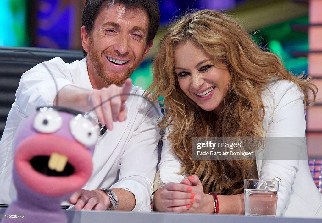 Pablo Motos and singer Paulina Rubio attend 'El Hormiguero' TV Show at Vertice Studios on May 22 2012 in Madrid Spain