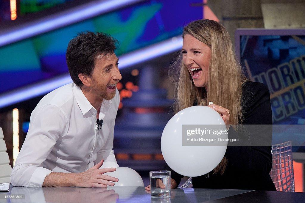 Pablo Motos and Victoria Azarenka attend 'El Hormiguero' Tv show at Vertice Studios on May 1 2013 in Madrid Spain