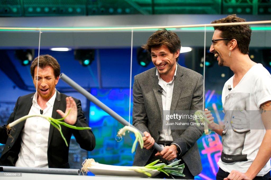 Pablo Motos Andres Velencoso and Marron attend 'El Hormiguero' Tv show at Vertice Studio on November 22 2012 in Madrid Spain