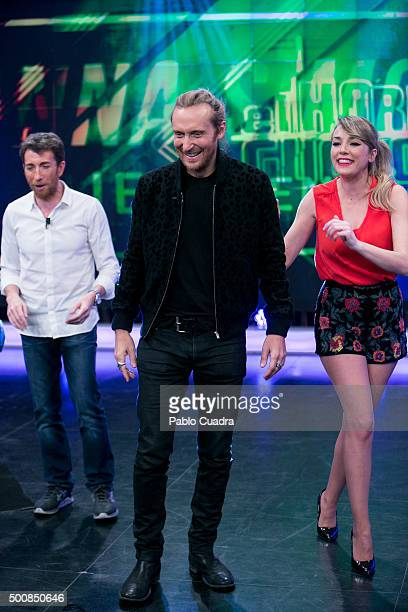 Pablo Motos David Guetta and Anna Simon attend el Hormiguero Tv Show at Vertice Studio on December 10 2015 in Madrid Spain