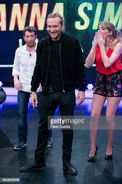 Pablo Motos David Guetta and Anna Simon attend 'El Hormiguero' Tv Show at Vertice Studio on December 10 2015 in Madrid Spain