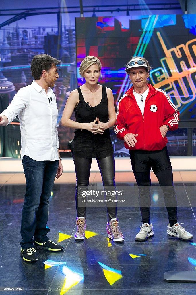 Pablo Motos, Elsa Pataky and Fernando Sartorius attend 'El Hormiguero' Tv show at Vertice Studio on June 11, 2014 in Madrid, Spain.