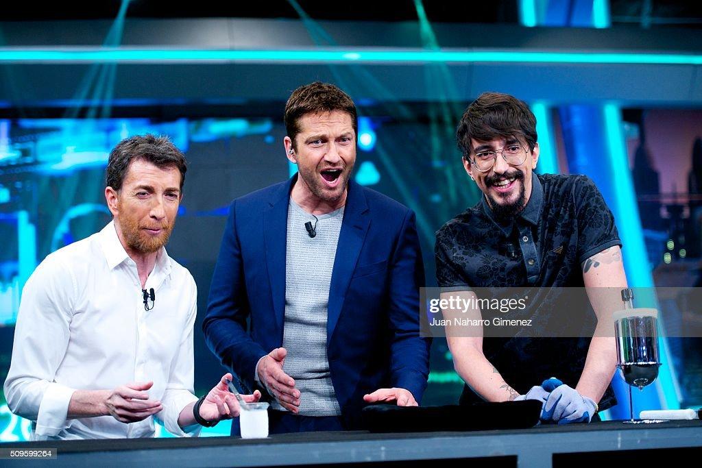 Pablo Motos Gerard Butler and Marron attend 'El Hormiguero' Tv show at Vertice Studio on February 11 2016 in Madrid Spain