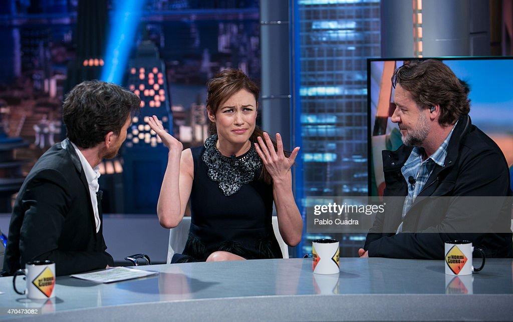 Pablo Motos Olga Kurylenko and Russell Crowe attend 'El Hormiguero' Tv show at Vertice Studio on April 20 2015 in Madrid Spain