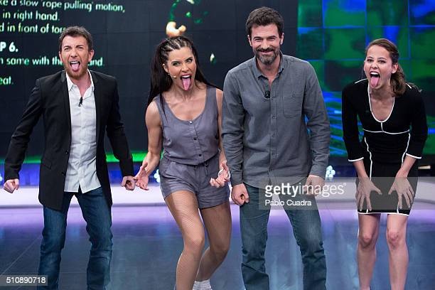 Pablo Motos Pilar Rubio Rodolfo Sancho and Irene Escolar attend 'El Hormiguero' Tv Show at Vertice Studio on February 17 2016 in Madrid Spain