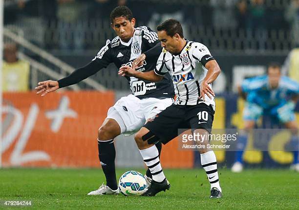 Pablo of Ponte Preta and Jadson of Corinthians in action during the match between Corinthians and Ponte Preta for the Brazilian Series A 2015 at...