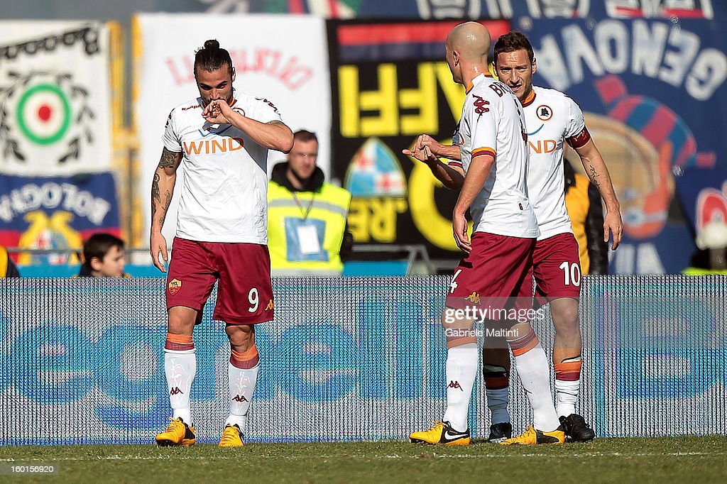 Pablo Osvaldo (L) of AS Roma celebrates after scoring his team's second goal during the Serie A match between Bologna FC and AS Roma at Stadio Renato Dall'Ara on January 27, 2013 in Bologna, Italy.