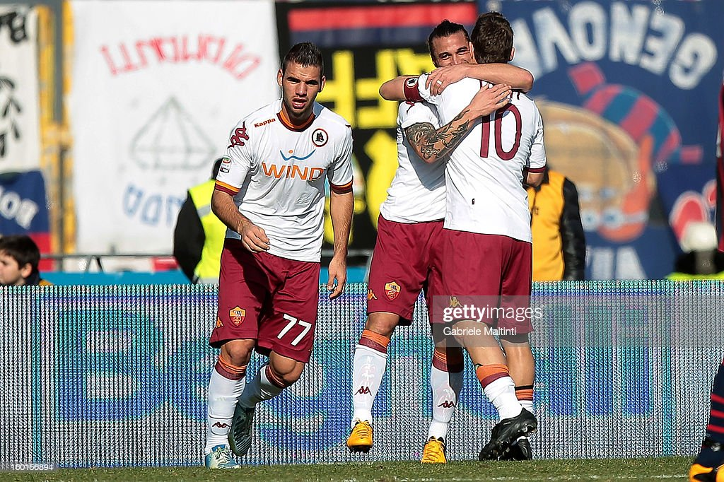 Pablo Osvaldo (2nd R) of AS Roma celebrates with team-mates <a gi-track='captionPersonalityLinkClicked' href=/galleries/search?phrase=Francesco+Totti&family=editorial&specificpeople=208985 ng-click='$event.stopPropagation()'>Francesco Totti</a> (R) and <a gi-track='captionPersonalityLinkClicked' href=/galleries/search?phrase=Panagiotis+Tachtsidis&family=editorial&specificpeople=6240627 ng-click='$event.stopPropagation()'>Panagiotis Tachtsidis</a> after scoring his team's second goal during the Serie A match between Bologna FC and AS Roma at Stadio Renato Dall'Ara on January 27, 2013 in Bologna, Italy.
