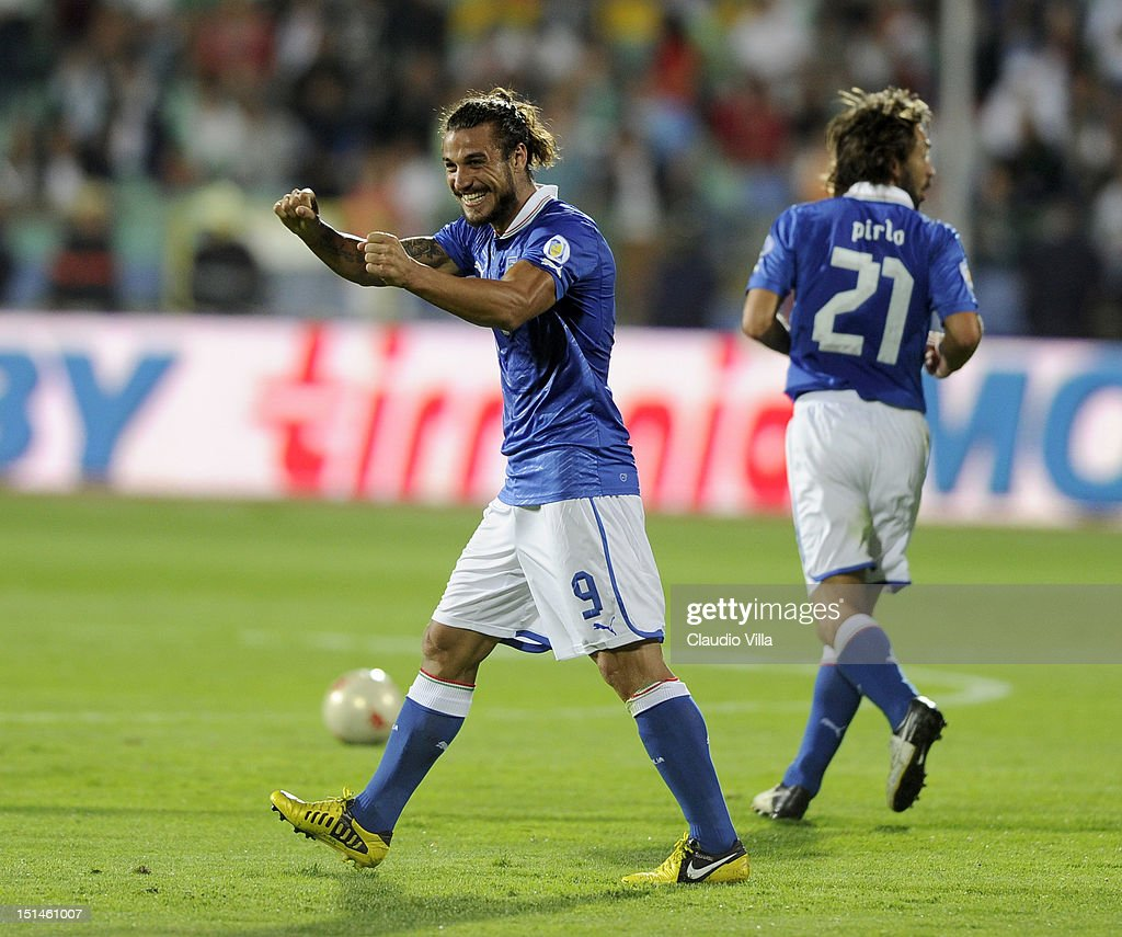 Pablo Osvaldo of Italy celebrates after scoring the opening goal of the FIFA 2014 World Cup Qualifier match between Bulgaria and Italy at Vasil Levski National Stadium on September 7, 2012 in Sofia, Bulgaria.