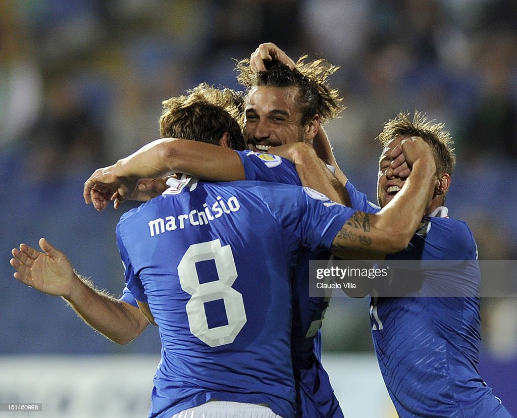 Pablo Osvaldo (C) of Italy celebrates with team-mate Claudio Marchisio after scoring the opening goal of the FIFA 2014 World Cup Qualifier match between Bulgaria and Italy at Vasil Levski National Stadium on September 7, 2012 in Sofia, Bulgaria.