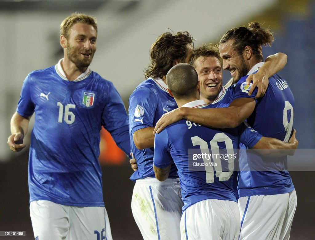 Pablo Osvaldo (R) of Italy celebrates with team-mates scoring the second goal for their team during the FIFA 2014 World Cup Qualifier match between Bulgaria and Italy at Vasil Levski National Stadium on September 7, 2012 in Sofia, Bulgaria.