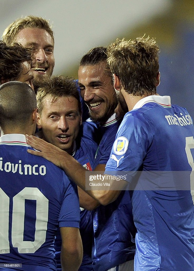 Pablo Osvaldo (2nd R) of Italy celebrates with team-mates scoring the second goal for their team during the FIFA 2014 World Cup Qualifier match between Bulgaria and Italy at Vasil Levski National Stadium on September 7, 2012 in Sofia, Bulgaria.