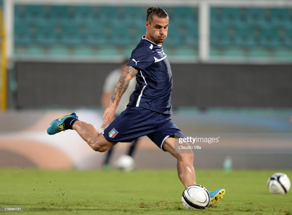 Pablo Osvaldo of Italy during a training session at Stadio Renzo Barbera on September 5, 2013 in Palermo, Italy.