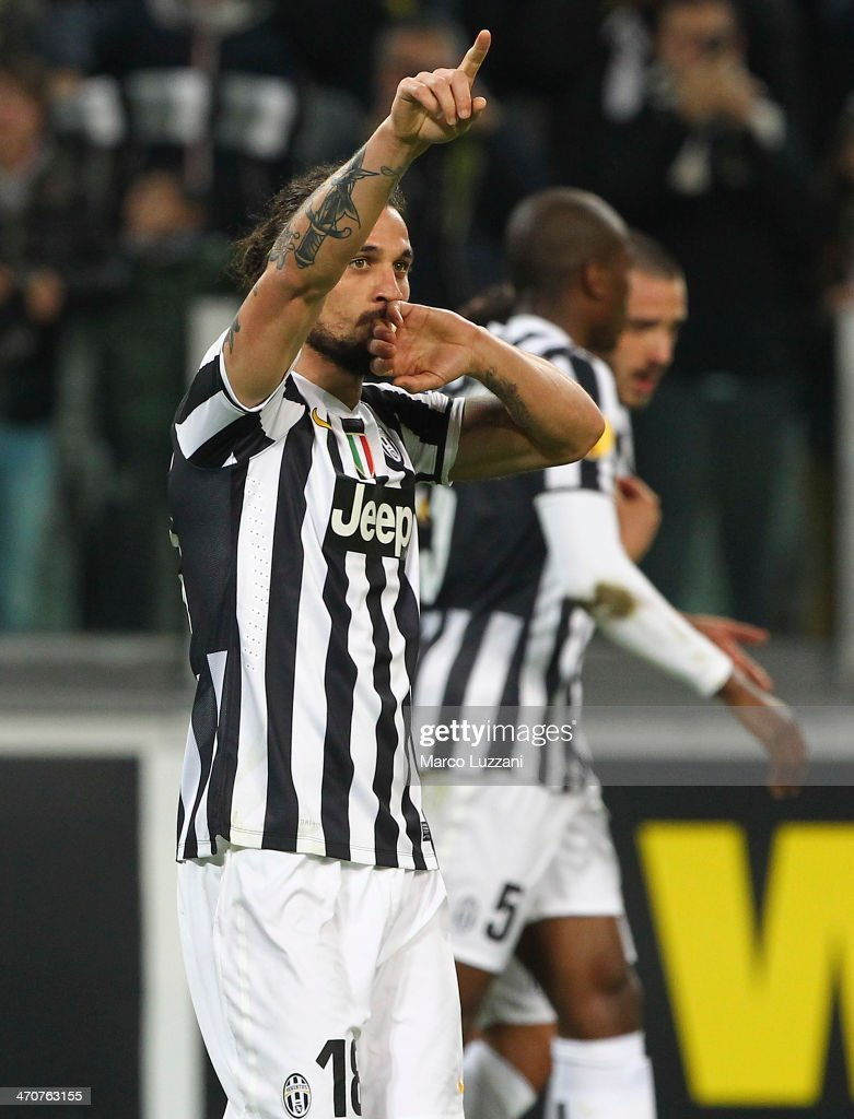 Pablo Osvaldo of Juventus FC celebrates after scoring the opening goal during the UEFA Europa League Round of 32 match between Juventus and AS Trabzonspor at Juventus Arena on February 20, 2014 in Turin, Italy.