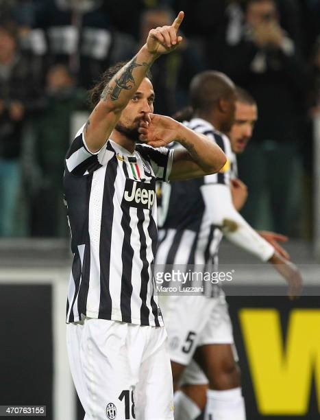 Pablo Osvaldo of Juventus FC celebrates after scoring the opening goal during the UEFA Europa League Round of 32 match between Juventus and AS...
