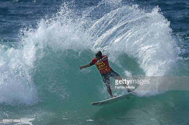 Pablo Paulino of Brazil ripping up his semi final before going on to win the final of the Billabong World Junior Championships at North Narrabeen...