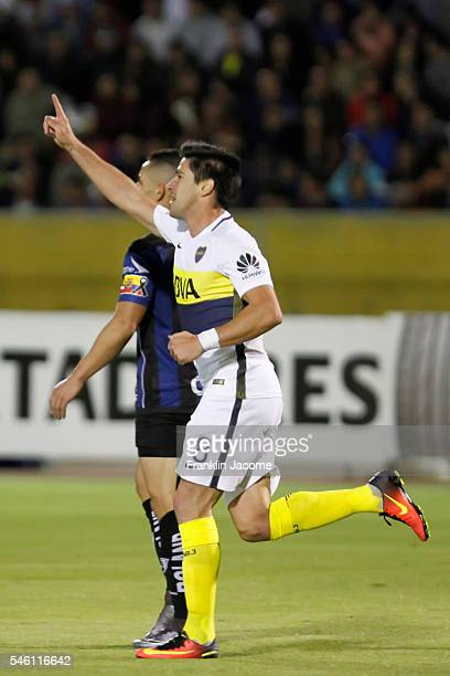 Pablo Perez of Boca Junior celebrates after scoring the opening goal during a first leg match between Independiente del Valle and Boca Juniors as...
