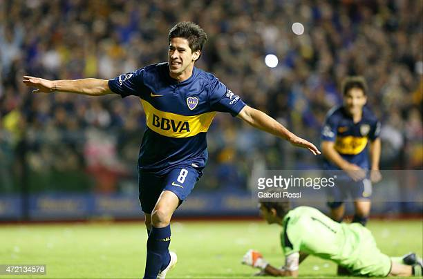 Pablo Perez of Boca Juniors celebrates after scoring the second goal of his team during a match between Boca Juniors and River Plate as part of 11th...