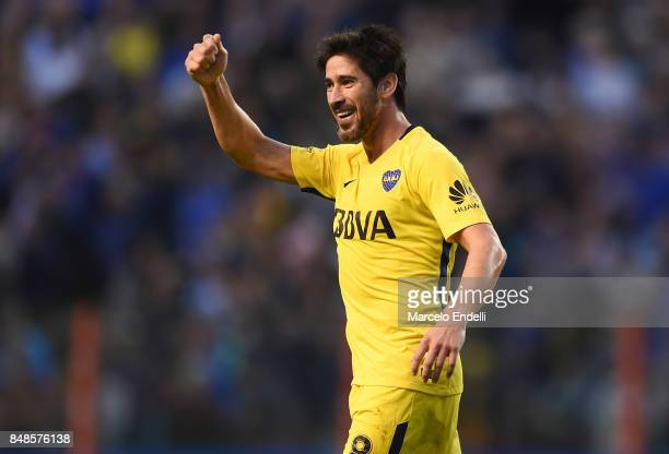 Pablo Perez of Boca Juniors celebrates after scoring the second goal of his team during a match between Boca Juniors and Godoy Cruz as part of...