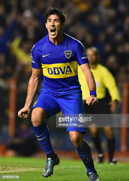 Pablo Perez of Boca Juniors celebrates after scoring the third goal of his team during a second leg match between Boca Juniors and Cerro Porteno as...