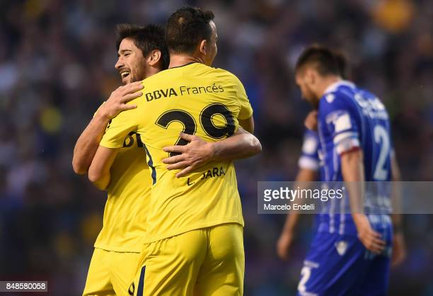 Pablo Perez of Boca Juniors celebrates with teammate Leonardo Jara after scoring the second goal of his team during a match between Boca Juniors and...